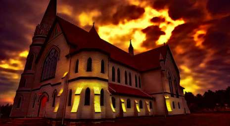 church-with-red-yellow-sky