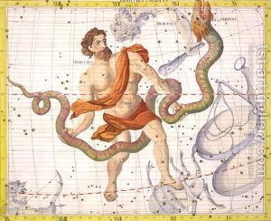 Constellation-Of-Ophiucus-And-Serpens,-Plate-22-From-Atlas-Coelestis,-By-John-Flamsteed-1646-1710,-Published-In-1729