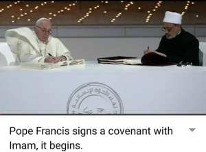 pope signs agreement with Iman