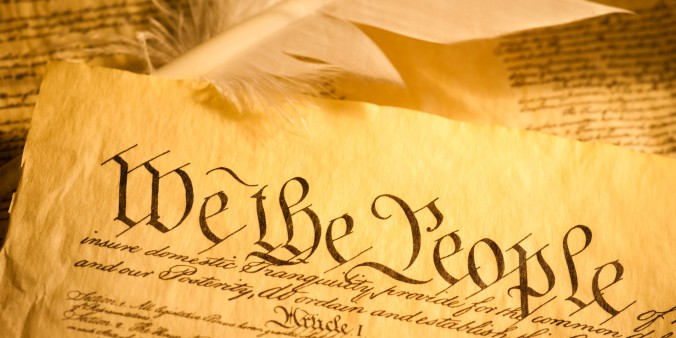 American Declaration of Independence with quill and parchment.