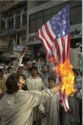 Packestani burning US flag