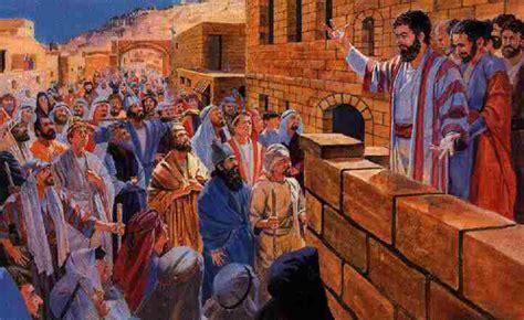 Peter preaching on Pentecost